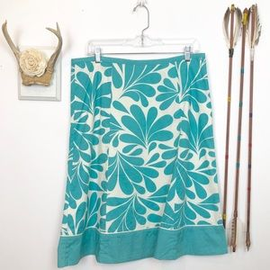 Boden Print Turquoise Cream A-Line Skirt Sz 10 J